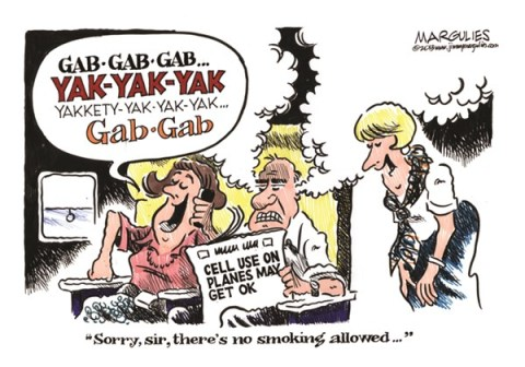Jimmy Margulies - The Record of Hackensack, NJ - Cell phones on planes color - English - Cell phones on planes, air travel, airlines, cell phone etiquette