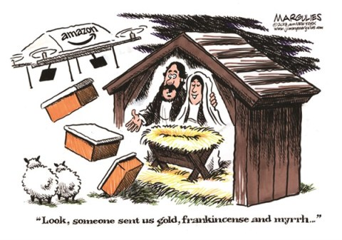 Jimmy Margulies - The Record of Hackensack, NJ - Amazon drones color - English - Amazon drones, Christmas season, Christmas presents, package delivery