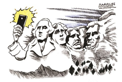 Jimmy Margulies - The Record of Hackensack, NJ - Obama selfie  color - English - Obama selfie, selfies, Obama, President Obama