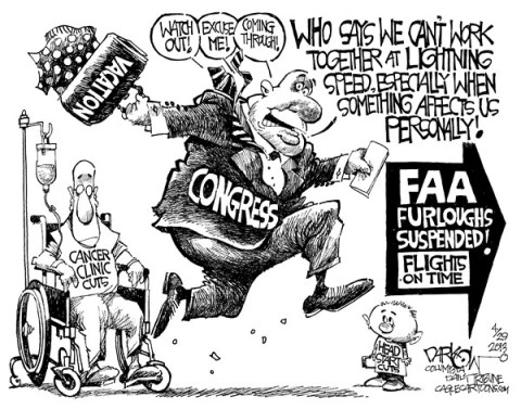 John Darkow - Columbia Daily Tribune, Missouri - Congressional Priorities - English - Congress, Priority, Cancer, Clinic, Cut, Vacation, Run, Wheelchair, Head Start, Kids, FAA, Furloughs, Suspend, Flights, Work, Together, Personal, Fast, Lightening, Speed