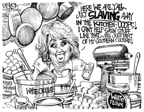 John Darkow - Columbia Daily Tribune, Missouri - Southern Fried Racism - English - Paul Dean, Kitchen, Race, Color, White, Chocolate, Black, Egg, Butter, Flour, Slaves, Southern, Culture, Pots, Pans, Mixer, Stir