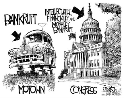 John Darkow - Columbia Daily Tribune, Missouri - Bankruptcy All Around - English - Detroit, Bankrupt, City, USA, America, Intellectual, Financial, Moral, Motown, Auto, Industry, Washington, Economy, Government, Capital