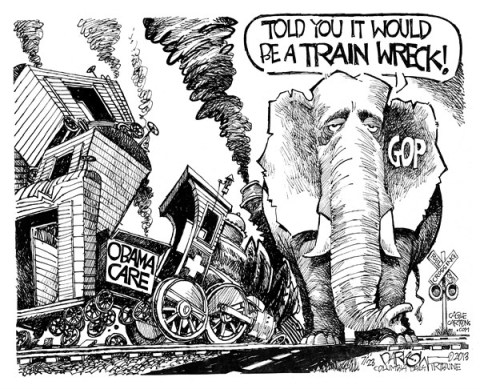 "John Darkow - Columbia Daily Tribune, Missouri - ""Obamacare"" - English - Obamacare, GOP, train, wreck, disaster, economy, political, president, barack, obama, healthcare, health, care"