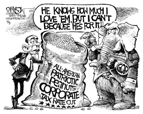 John Darkow - Columbia Daily Tribune, Missouri - Corporate Tax Rate Cut - English - All-American, Patriotic, Corporate, Tax, Rate, Cut, GOP, Obama, proposes, deal, Middle-Class, Jobs, appeal, overhaul, subtract, annual, budget deficit