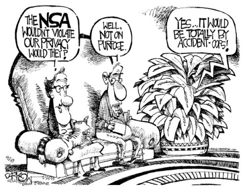 John Darkow - Columbia Daily Tribune, Missouri - The Accidental NSA - English - NSA, violate, broke, privacy, breaching, purpose, intentional, rights, accident, National Security Agency, Surveillance, Thread, Real, imagined, paranoid, telecommunications, metadata