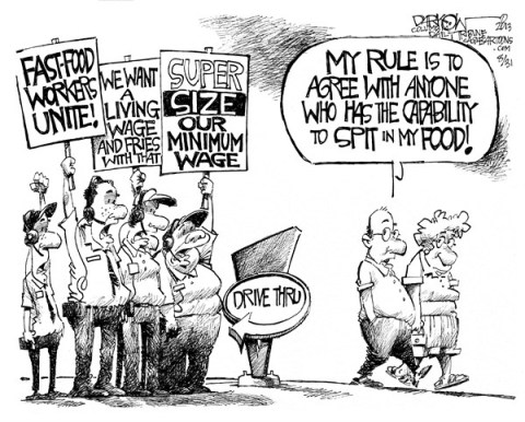 John Darkow - Columbia Daily Tribune, Missouri - Minimum Rage - English - minimum, wage, rage, salary, pay, paycheck, employee, wages, fast, food, workers, super, size, living, fries, union