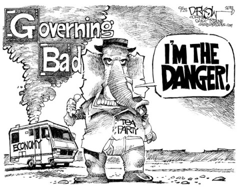 John Darkow - Columbia Daily Tribune, Missouri - Governing Bad - English - Government, Bad, Tea Party, Republican, Democrat, Economy, Danger, RV, Vacation, Break Down, Upset, Mad, American People, Stranded