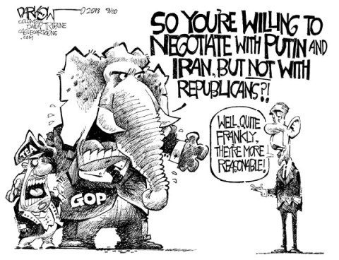 John Darkow - Columbia Daily Tribune, Missouri - Why Obama wont negotiate - English - Negotiate, Putin, Iran, Republicans, reasonable, unreasonable, GOP, Tea Party Obama, Foreign