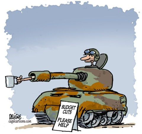 Frederick Deligne - Nice-Matin, France - Military Budget Cuts  - English - army,budget,cut,money,military,crisis,tank