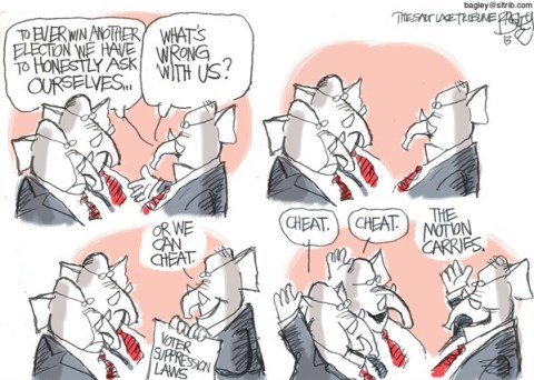 Pat Bagley - Salt Lake Tribune - Voter Suppression - English - Votes, Voters, Fraud, Suppression, GOP, Republicans, North Carolina, Cheat