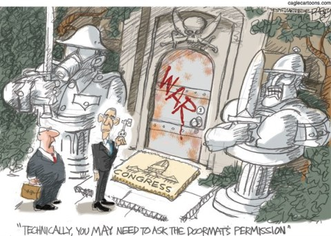 Pat Bagley - Salt Lake Tribune - The Doormat of War - English - Congress, War, Syria, Obama, Nerve Gas, War Powers