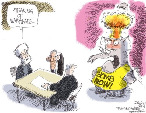 Pat Bagley - Salt Lake Tribune - GOP War Heads - English - Warheads, GOP, Republicans, Iran, Rouhani, Sanctions, Negotiations, Neocons, Nuclear, Obama, Kerry