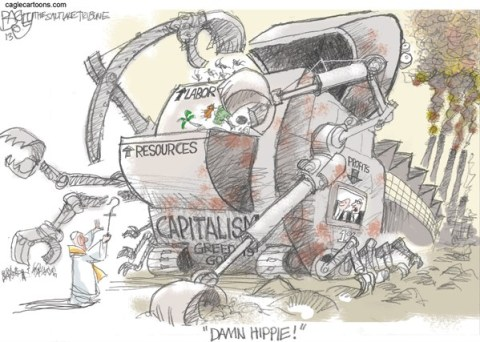 Pat Bagley - Salt Lake Tribune - The Monkey Wrench Pope - English - Pope Francis, Capitalism, Greed, One Percent, Income, Rich, Wealthy, Workers, Wall St , Pope, Catholic, Jesus, Francis
