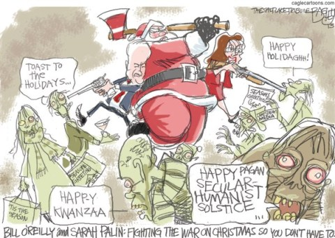 Pat Bagley - Salt Lake Tribune - Walking Dead Christmas Special - English - Walking Dead, Zombies, War on Christmas, Christmas, Bill OReilly, Sarah Palin, OReilly, Palin, Santa Claus, Fox news, GOP, Conservatives, Jesus, Christ