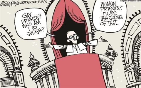 Mike Keefe - Cagle Cartoons - Pope Francis on Gays COLOR - English - pope; francis; gay; homosexual; women; priest; vatican; catholic; church; doctrine