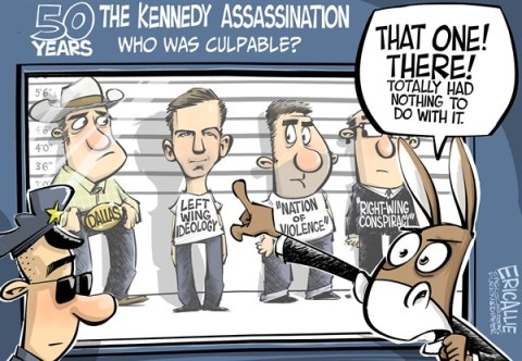 Eric Allie - Caglecartoons.com - Kennedy assassination - English - he left, progressive, kennedy, oswald