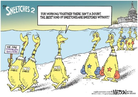 RJ Matson - Roll Call - No Labels Politicians Would Fix Broken Government-COLOR - English - No Labels Politicians Would Fix Broken Government, No Labels, Washington, Congress, No Labels, Democrats, Republicans, Liberals, Conservatives, Sneetches, Dr Seuss