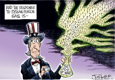 Joe Heller - Green Bay Press-Gazette - The Fog of War - English - The Fog of War, Syria, poison gas, chemical, biological, obama, uncle sam