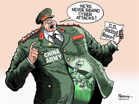 Paresh Nath - The Khaleej Times, UAE - Cyber attacks COLOR - English - China, cyber attacks,China army,Chinese hackers, US hacking report, Sanghai firms, denial