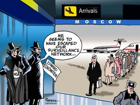 Paresh Nath - The Khaleej Times, UAE - Snowden escapes COLOR - English - Edward Snowden, NSA, intelligence, fugitive escape, surveillance network, spying, cyberspying, Moscow, HongKong, Ecuador, airport arrivals
