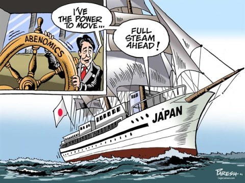 Paresh Nath - The Khaleej Times, UAE - Shinzo Abe powerful COLOR - English - Shinzo Abe, Japan PM, upper house victory, Abenomics,full steam ahead, steering ship, Japanese economy, reforms