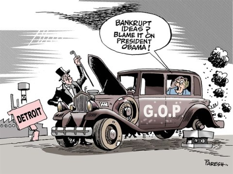 Paresh Nath - The Khaleej Times, UAE - GOP on Detroit way COLOR - English - GOP, Republican party, bankruptcy, bankrupt ideas, blame game,  Blame game, Detroit