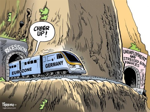 Paresh Nath - The Khaleej Times, UAE - Eurozone out of RECESSION COLOR - English - Eurozone, recession, Germany engine, euro train, tunnels, unemployment, stressed govt finances, debt issues, German bailout
