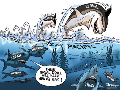 Paresh Nath - The Khaleej Times, UAE - Naval drill in Asia COLOR - English - South Korea, USA, naval drill, Asia pacific, shark jumping, Japan, Philippines, Vietnam, N,Korea, keeping China at bay