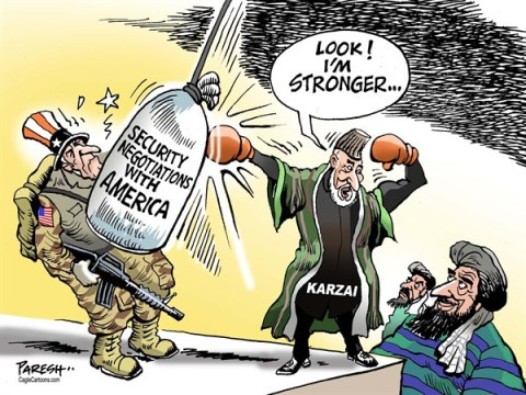 Paresh Nath - The Khaleej Times, UAE - Afghan security negotiations COLOR - English - Afghanistan war, Karzai, bilateral pact, USA troops, security negotiations, Loya jirga, afghan tribal leaders
