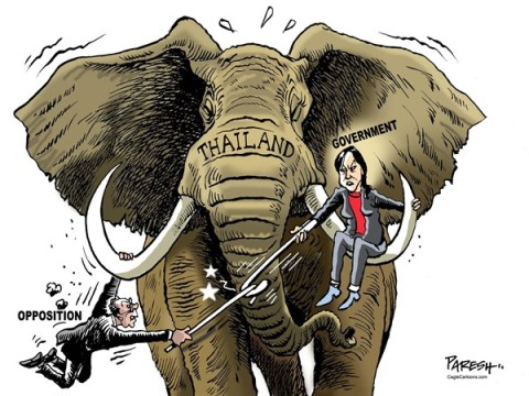 Paresh Nath - The Khaleej Times, UAE - THAI Face-off COLOR - English - Thailand, face-off, Yingluck, Thaksin govt, Thai opposition, Suthep Thaugsuban, Thai elephant, protests