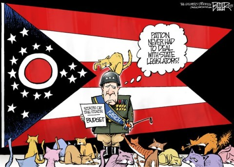 Nate Beeler - The Columbus Dispatch - LOCAL OH - State of the State COLOR - English - john kasich, ohio, state of the state, sots, budget, proposal, plan, patton, flag, legislature, legislators, cats, herding, medicaid, sales tax, governor