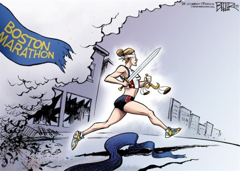 Nate Beeler - The Columbus Dispatch - Boston Marathon COLOR - English - boston, marathon, justice, terror, terrorism, bomb, bombing, running, runner, terrorist, sword, sports, violence, crime