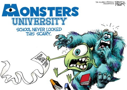 Nate Beeler - The Columbus Dispatch - Monsters University COLOR - English - monsters university, college, education, higher, tuition, bill, student, loan, rate, congress, politics, entertainment, disney, pixar, mike, sully, movie