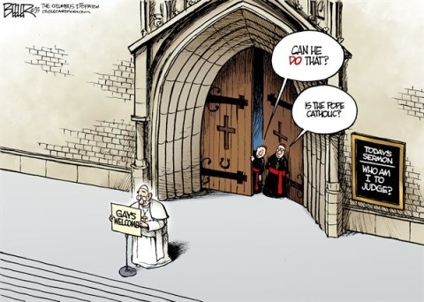 Nate Beeler - The Columbus Dispatch - The Pope and Gays COLOR - English - catholic, church, catholicism, pope, francis, gays, gay, homosexuality, homosexual, welcome, religion, christianity