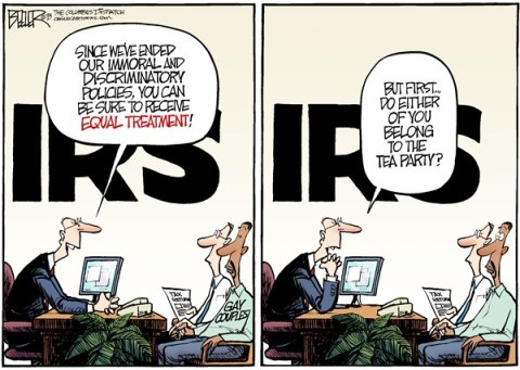 Nate Beeler - The Columbus Dispatch - IRS and Gays COLOR - English - irs, gay, homosexual, couple, same sex, taxes, tax, equal, treatment, scandal, tea party, conservative, group, nonprofit, politics