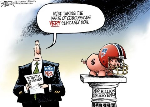 Nate Beeler - The Columbus Dispatch - NFL Concussions COLOR - English - nfl, football, concussion, business, lawsuit, settlement, sports, injury, brain, players, helmet, safety, game, league, revenue, money