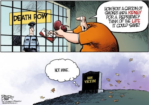 Nate Beeler - The Columbus Dispatch - Death Row Donor COLOR - English - kasich, governor, ohio, death row, execution, reprieve, organ, donor, donation, stay, inmate, murderer, killer, victim, life, save, prison, crime