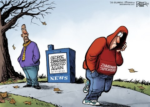 Nate Beeler - The Columbus Dispatch - George Zimmerman COLOR - English - george zimmerman, trayvon martin, arrested, guns, hoodie, supporters, florida, stand your ground, race