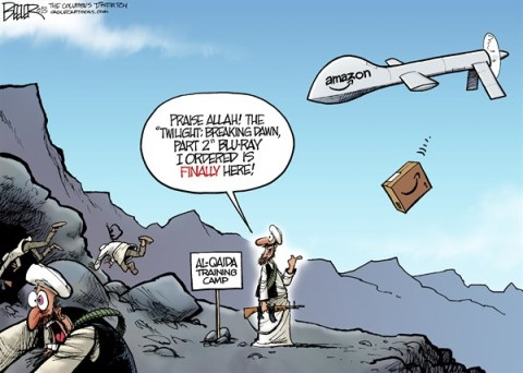 Nate Beeler - The Columbus Dispatch - Drone Strike COLOR - English - amazon, online, shopping, business, drone, strike, terror, terrorism, war, delivery, order, twilight, entertainment, al qaida, al qaeda, technology