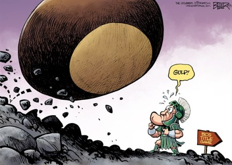 Nate Beeler - The Columbus Dispatch - LOCAL OH - Buckeyes vs Spartans COLOR - English - buckeyes, buckeye, ohio state university, osu, ohio, bcs, title, game, sports, football, college, michigan state university, spartans, sparty