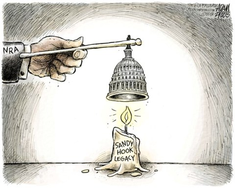 Adam Zyglis - The Buffalo News - Sandy Hook Legacy COLOR - English - sandy, hook, newtown, shooting, legacy, nra, national rifle association, guns, gun control, safety, background checks, assault weapons, ban, legislation, bill, laws, congress, senate, house, leadership