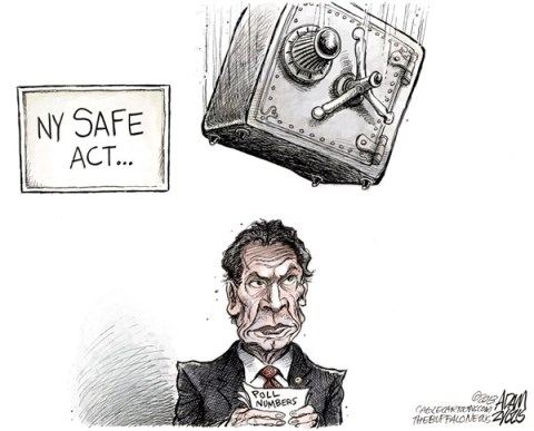Adam Zyglis - The Buffalo News - NY Cuomo SAFE Act - English - ny, new york, state, safe, act, gun, law, assault weapons, magazines, bullets, background checks, reform, governor, cuomo, polls, approval, rating, andrew cuomo, politics, albany