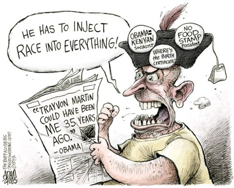 Adam Zyglis - The Buffalo News - Injecting Race COLOR - English - obama, president, white house, trayvon, martin, florida, teen, race, murder, stand your ground, racism, zimmerman, tea party, conservatives, kenya, food stamps