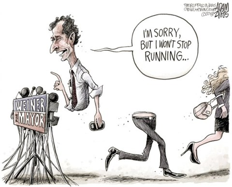 Adam Zyglis - The Buffalo News - Weiner Still Running COLOR - English - anthony, weiner, mayor, race, congress, sex, scandal, email, twitter, texting, sexting, social media, affair, politics, new york city, new york, ny, race, election