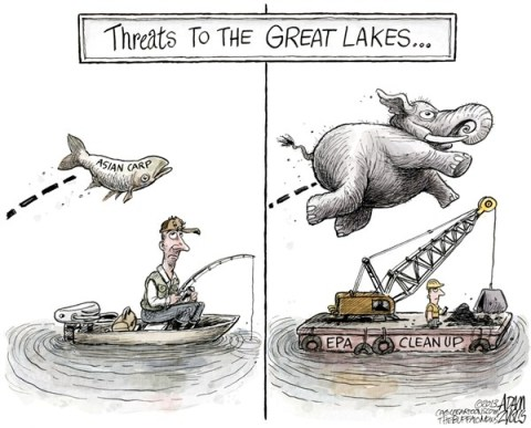 Adam Zyglis - The Buffalo News - EPA Cuts COLOR - English - great lakes, lake erie, restoration, buffalo river, buffalo, dredging, cleanup, epa, government, cuts, austerity, budget, gop, congress, republicans, asian carp, invasive species