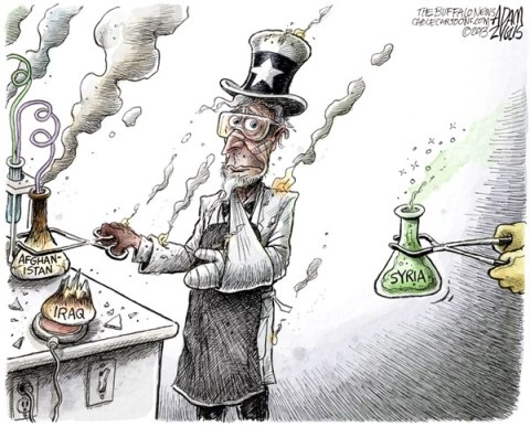Adam Zyglis - The Buffalo News - Intervention Experiment COLOR - English - syria, chemical, weapons, iraq, afghanistan, assad, military, us, intervention, middle east, experiment, foreign, affairs, war