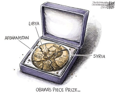 Adam Zyglis - The Buffalo News - Obama Piece Prize COLOR - English - obama, president, barack, white house, nobel, peace prize, war, middle east, afghanistan, libya, syria, conflict, intervention, military, strike, bombs