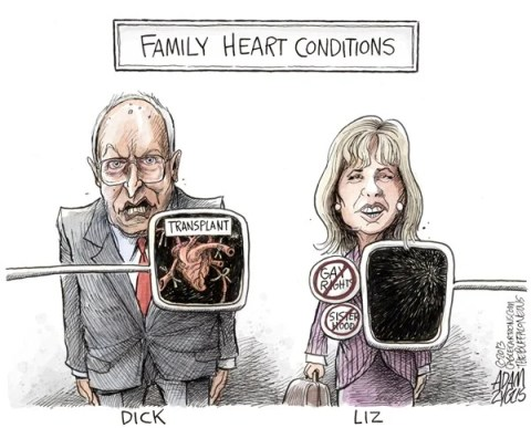 Adam Zyglis - The Buffalo News - Liz Cheney - English - cheney, dick, liz, family, sisters, gay marriage, rights, heart, transplant, heartless, equality, mary, senate, wyoming