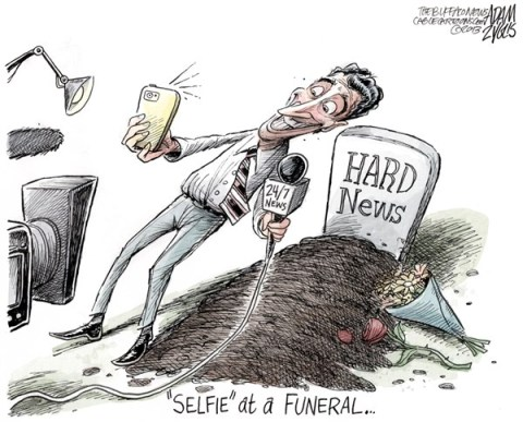 Adam Zyglis - The Buffalo News - Selfie Scandal COLOR - English - selfie, obama, scandal, media, hype, hard, news, journalism, president, nelson mandela, funeral, memorial