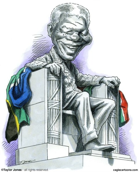 Taylor Jones - Politicalcartoons.com - Nelson Mandela 1918-2013 - COLOR - English - 		nelson,mandela,south,africa,apartheid,freedom,justice,civil,rights,ANC,humanity,amandla,madiba